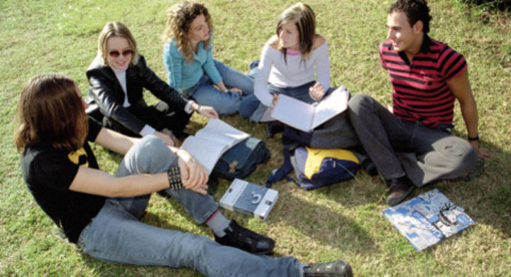 Students on a lawn